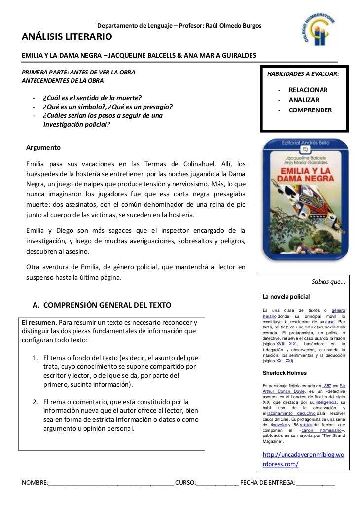 Departamento de Lenguaje – Profesor: Raúl Olmedo BurgosANÁLISIS LITERARIOEMILIA Y LA DAMA NEGRA – JACQUELINE BALCELLS & AN...