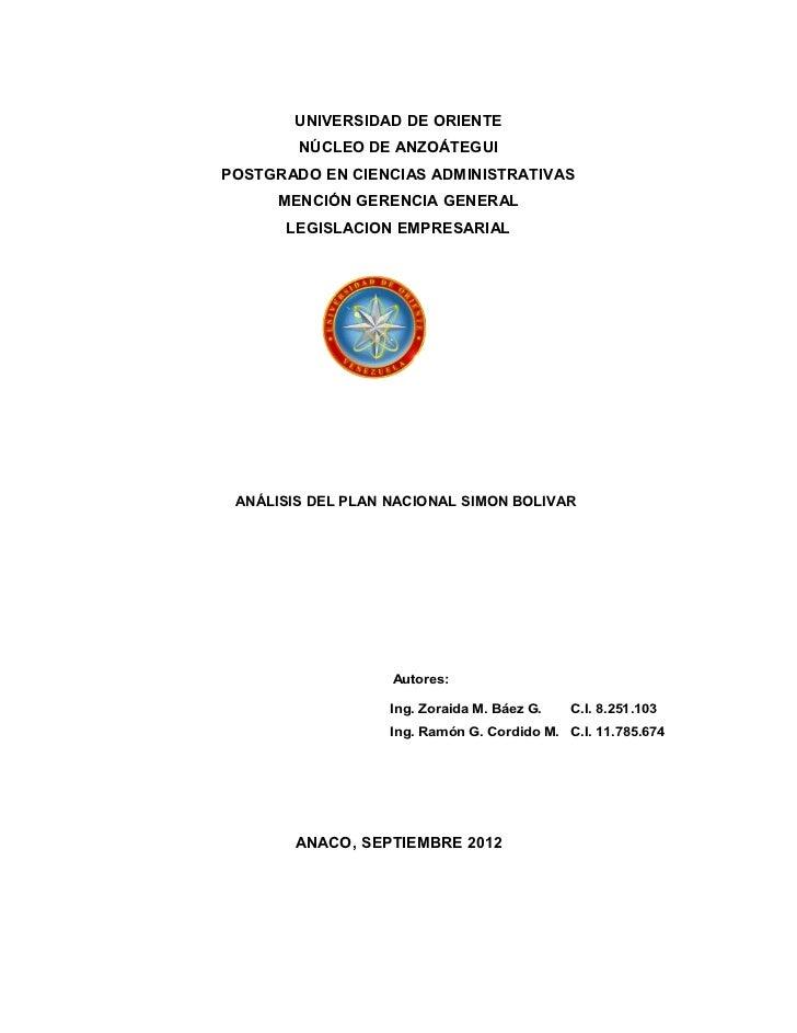 UNIVERSIDAD DE ORIENTE        NÚCLEO DE ANZOÁTEGUIPOSTGRADO EN CIENCIAS ADMINISTRATIVAS      MENCIÓN GERENCIA GENERAL     ...