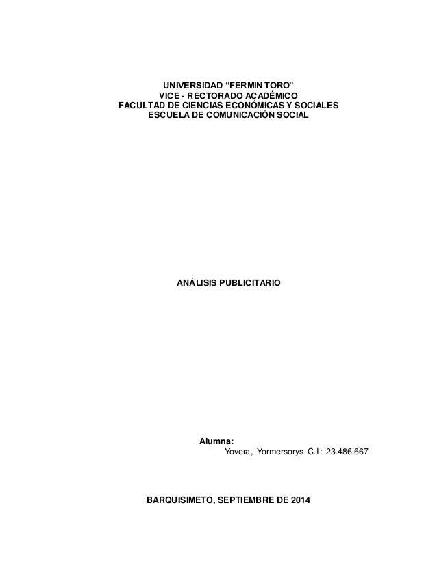 """UNIVERSIDAD """"FERMIN TORO""""  VICE - RECTORADO ACADÉMICO  FACULTAD DE CIENCIAS ECONÓMICAS Y SOCIALES  ESCUELA DE COMUNICACIÓN..."""