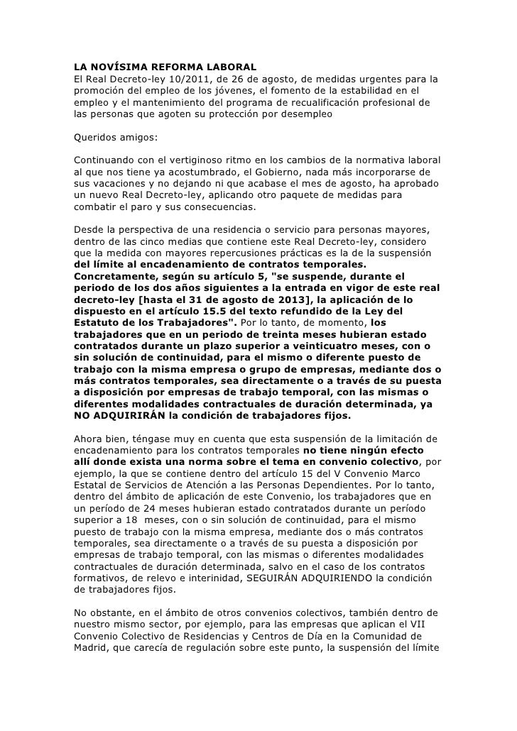 LA NOVÍSIMA REFORMA LABORAL<br />El Real Decreto-ley 10/2011, de 26 de agosto, de medidas urgentes para la promoción del e...
