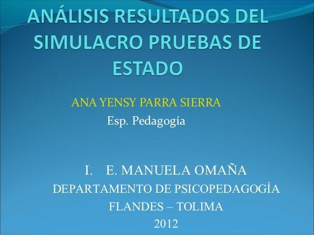 ANA YENSY PARRA SIERRA       Esp. Pedagogía    I. E. MANUELA OMAÑADEPARTAMENTO DE PSICOPEDAGOGÍA       FLANDES – TOLIMA   ...