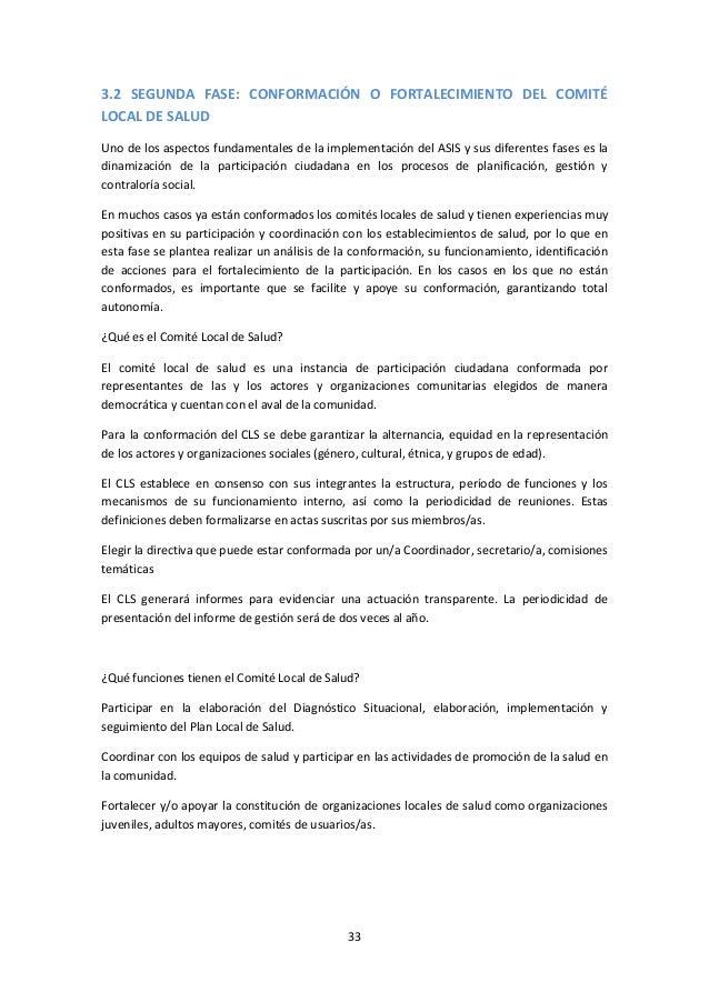 3.2 SEGUNDA FASE: CONFORMACIÓN O FORTALECIMIENTO DEL COMITÉ LOCAL DE SALUD Uno de los aspectos fundamentales de la impleme...