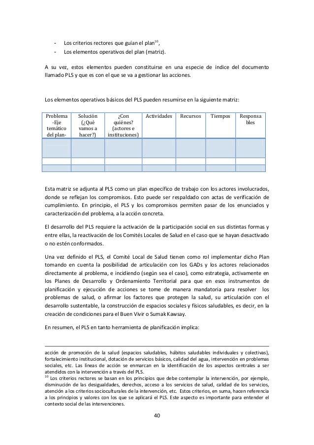 -  Los criterios rectores que guían el plan10,  -  Los elementos operativos del plan (matriz).  A su vez, estos elementos ...