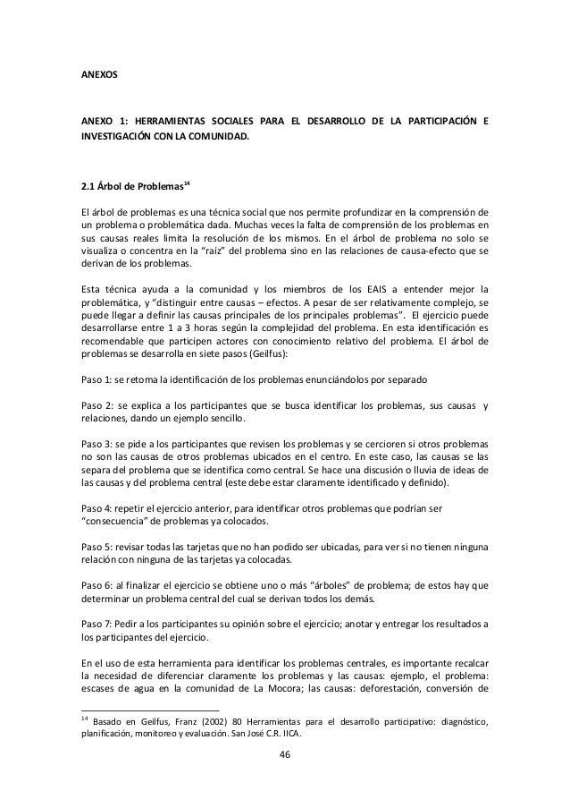 ANEXOS  ANEXO 1: HERRAMIENTAS SOCIALES PARA EL DESARROLLO DE LA PARTICIPACIÓN E INVESTIGACIÓN CON LA COMUNIDAD.  2.1 Árbol...