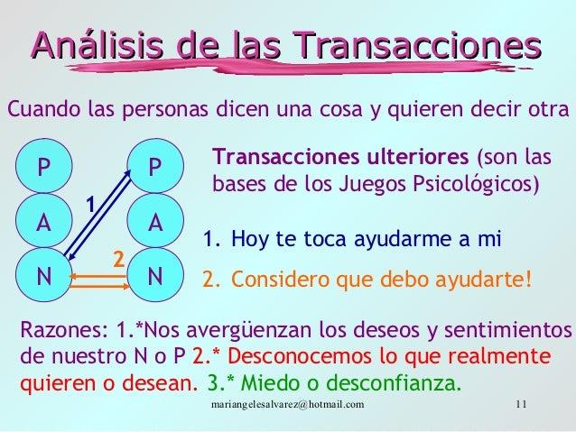 Análisis de las TransaccionesCuando las personas dicen una cosa y quieren decir otra                    Transacciones ulte...