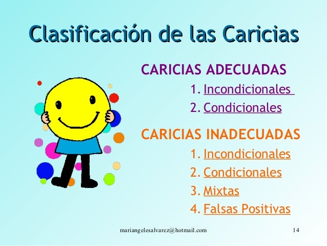 Clasificación de las Caricias                CARICIAS ADECUADAS                                 1. Incondicionales        ...