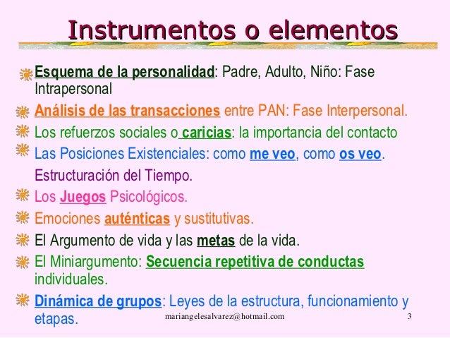 Instrumentos o elementosEsquema de la personalidad: Padre, Adulto, Niño: FaseIntrapersonalAnálisis de las transacciones en...