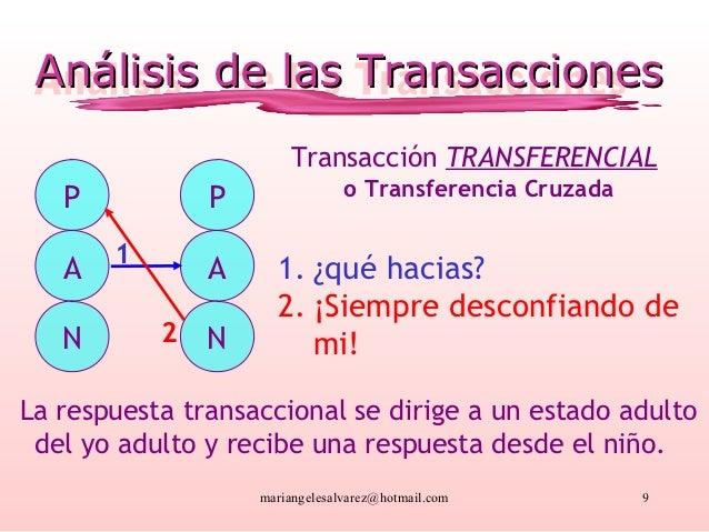 Análisis de las Transacciones Análisis de las Transacciones                       Transacción TRANSFERENCIAL   P          ...