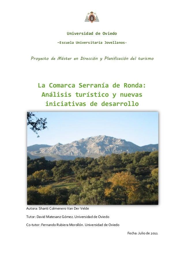 Universidad de Oviedo                   -Escuela Universitaria Jovellanos-  Proyecto de Máster en Dirección y Planificació...