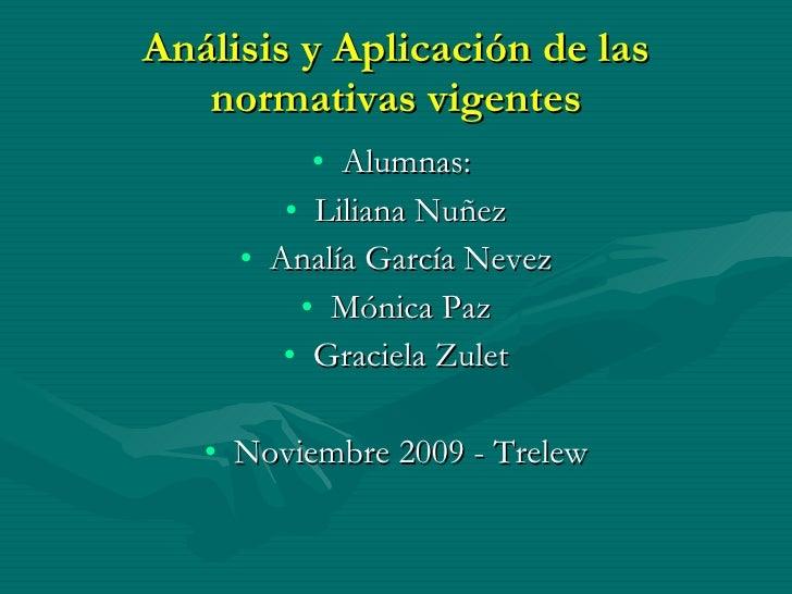 Análisis y Aplicación de las normativas vigentes <ul><li>Alumnas:  </li></ul><ul><li>Liliana Nuñez </li></ul><ul><li>Analí...