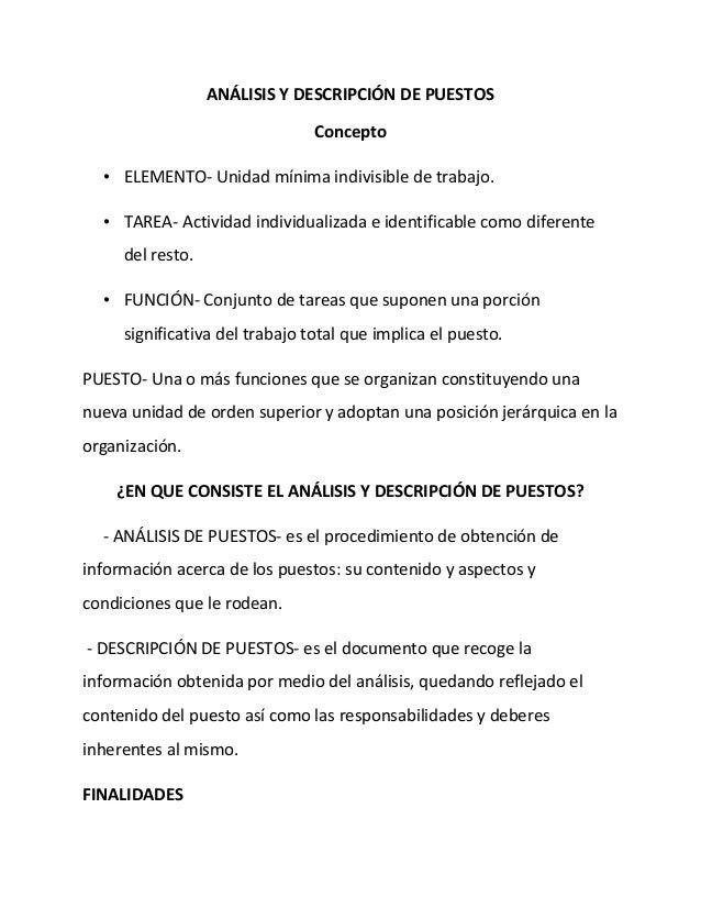 ANÁLISIS Y DESCRIPCIÓN DE PUESTOS                                Concepto  • ELEMENTO- Unidad mínima indivisible de trabaj...