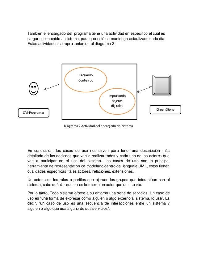 También el encargado del programa tiene una actividad en especifico el cual es  cargar el contenido al sistema, para que e...