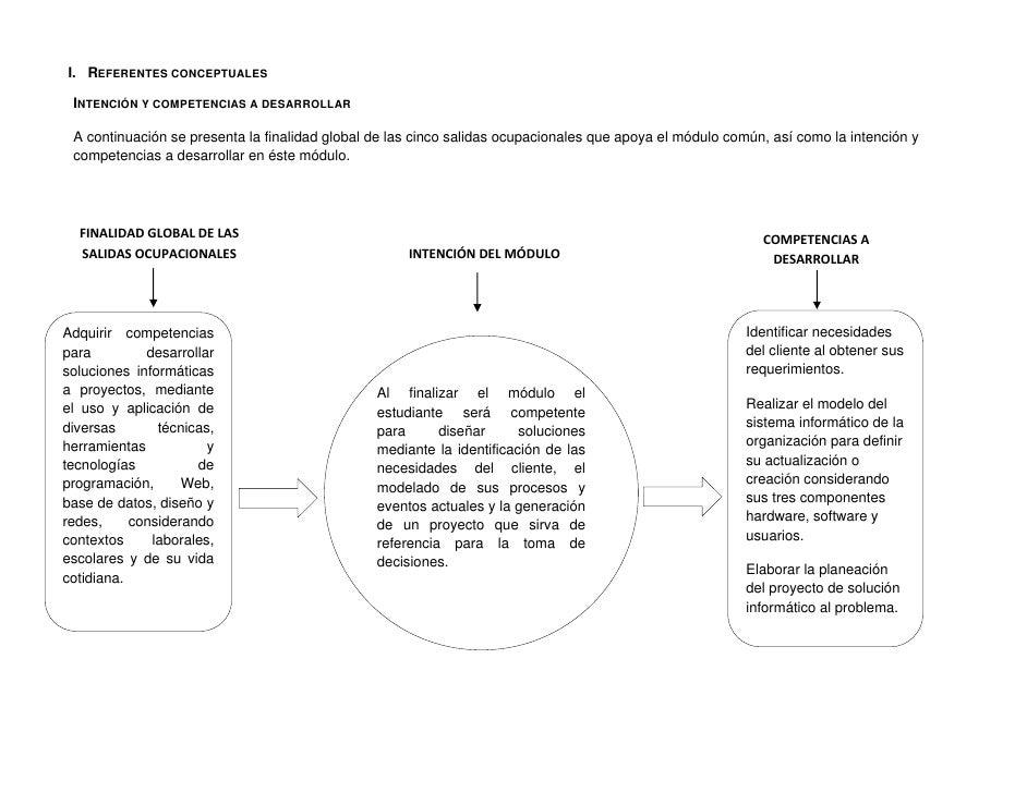 I. REFERENTES CONCEPTUALES    INTENCIÓN Y COMPETENCIAS A DESARROLLAR    A continuación se presenta la finalidad global de ...