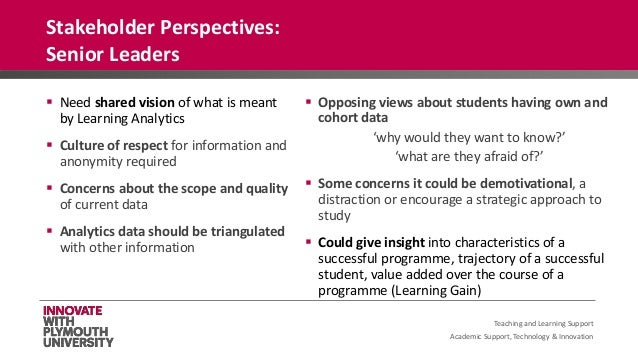 Academic Support, Technology & Innovation  Need shared vision of what is meant by Learning Analytics  Culture of respect...