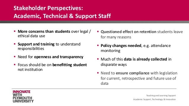 Academic Support, Technology & Innovation  More concerns than students over legal / ethical data use  Support and traini...