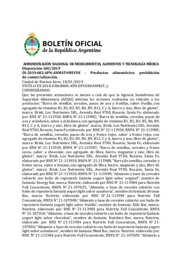 ADMINISTRACIÓN NACIONAL DEMEDICAMENTOS, ALIMENTOS Y TECNOLOGÍA MÉDICA Disposición 682/2019 DI-2019-682-APN-ANMAT#MSYDS - P...