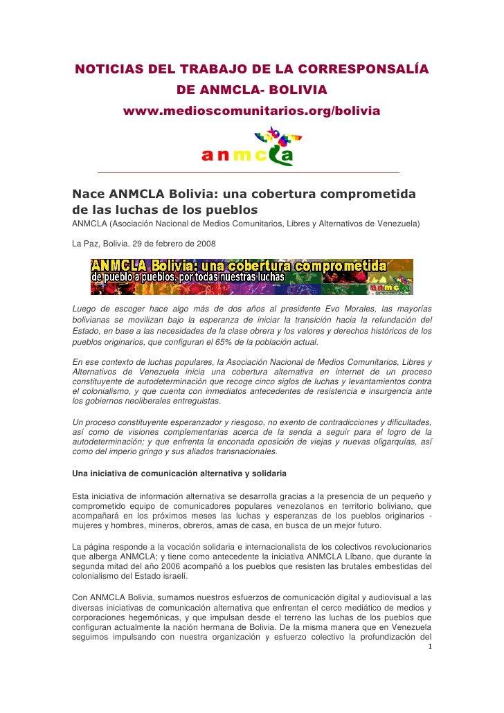NOTICIAS DEL TRABAJO DE LA CORRESPONSALÍA                            DE ANMCLA- BOLIVIA              www.medioscomunitario...