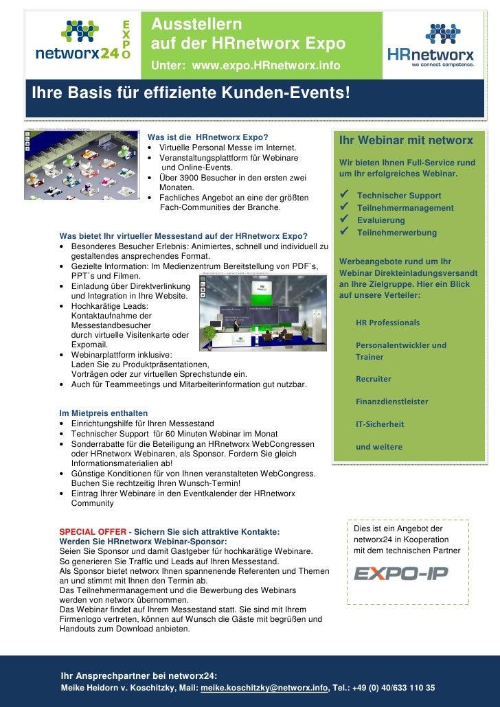Ausstellern                           auf der HRnetworx Expo                           Unter: www.expo.HRnetworx.info  Ihr...