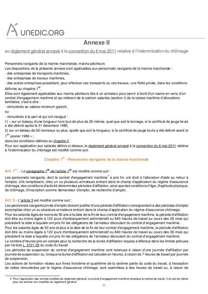 Annexe IIau règlement général annexé à la convention du 6 mai 2011 relative à l'indemnisation du chômagePersonnels navigan...