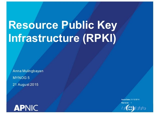 Issue Date: Revision: Resource Public Key  Infrastructure (RPKI) Anna Mulingbayan MYNOG 5 21 August 2015 31/12/20...