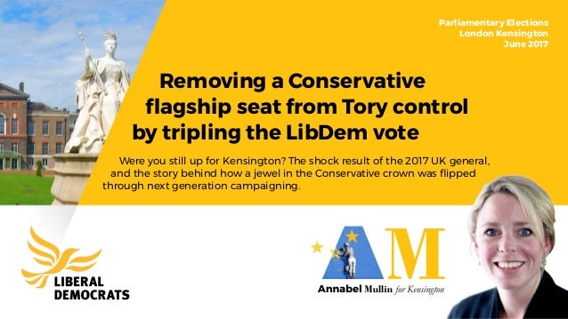 Removing a Conservative flagship seat from Tory control by tripling the LibDem vote Parliamentary Elections London Kensingt...