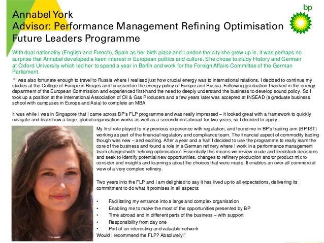 AnnabelYork Advisor: Performance Management Refining Optimisation Future Leaders Programme My first role played to my prev...