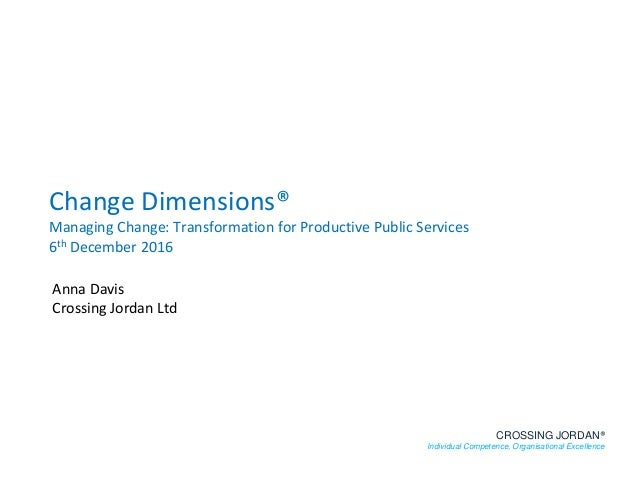 Change Dimensions® Managing Change: Transformation for Productive Public Services 6th December 2016 CROSSING JORDAN® Indiv...