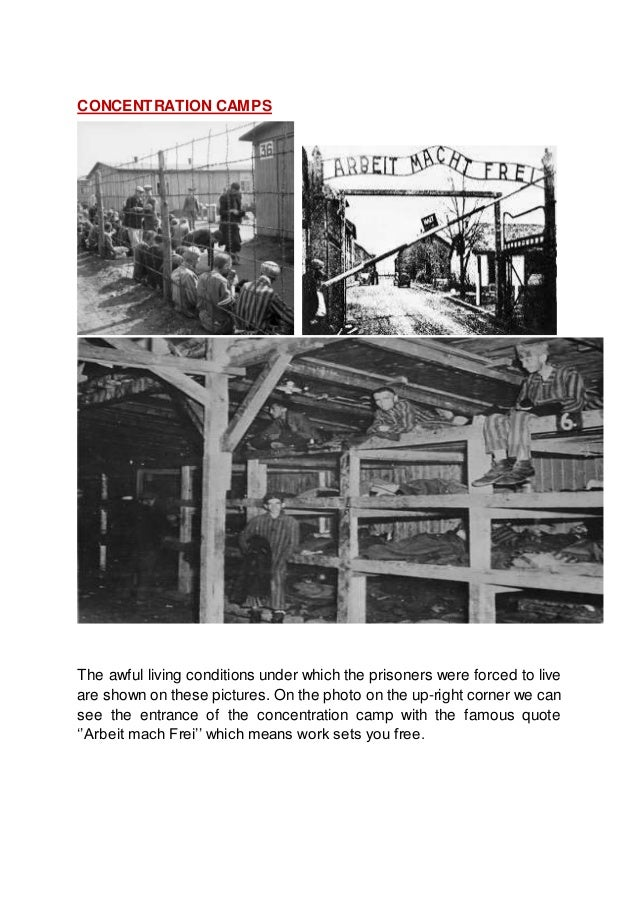 CONCENTRATION CAMPS The awful living conditions under which the prisoners were forced to live are shown on these pictures....
