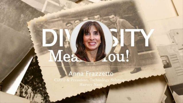 DIVERSITY Means You! Anna Frazzetto CDTO & President, Technology Solutions Harvey Nash