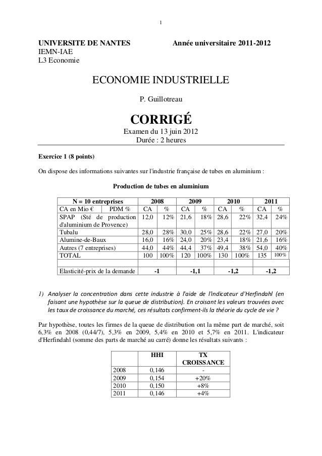 1UNIVERSITE DE NANTES                               Année universitaire 2011-2012IEMN-IAEL3 Economie                    EC...