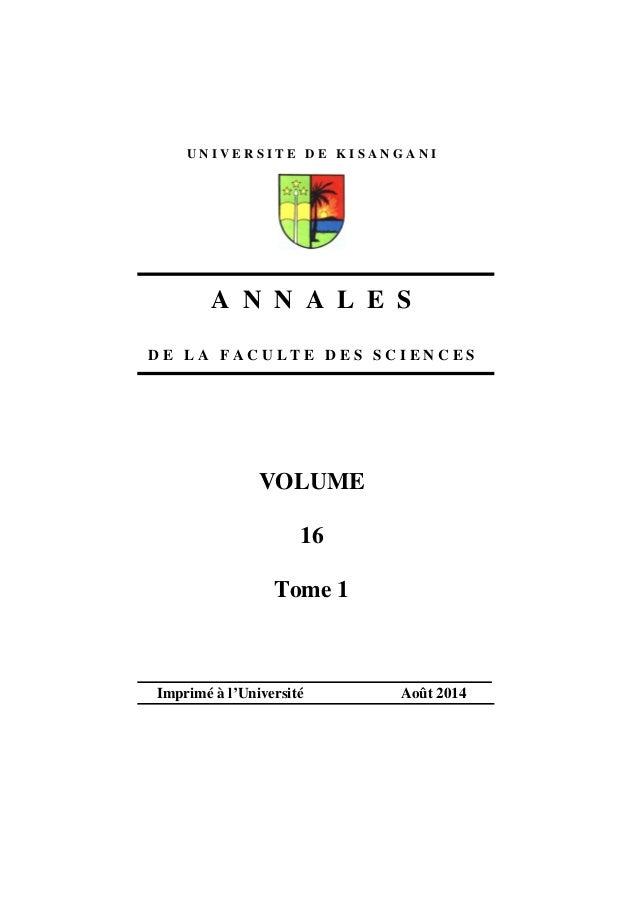U N I V E R S I T E D E K I S A N G A N I  A N N A L E S  D E L A F A C U L T E D E S S C I E N C E S  VOLUME  16  Tome 1 ...