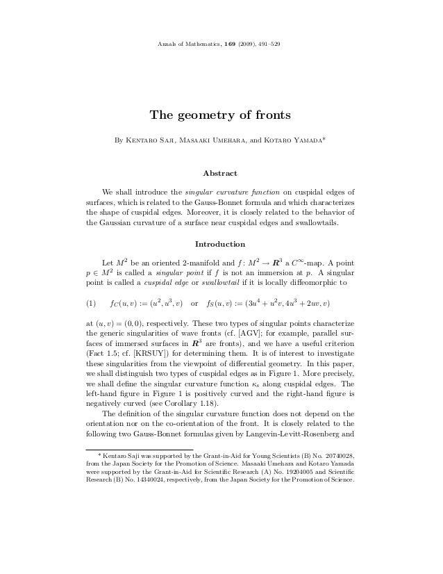Annals of Mathematics, 169 (2009), 491–529                     The geometry of fronts         By Kentaro Saji, Masaaki Ume...