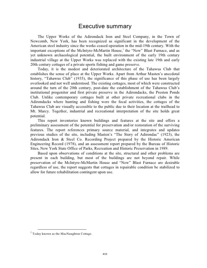 Executive summary      The Upper Works of the Adirondack Iron and Steel Company, in the Town of Newcomb, New York, has bee...