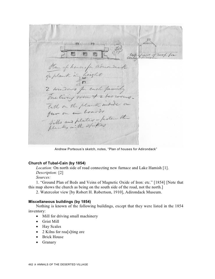 """Andrew Porteous's sketch, notes, """"Plan of houses for Adirondack""""    Church of Tubal-Cain (by 1854)      Location: On north..."""