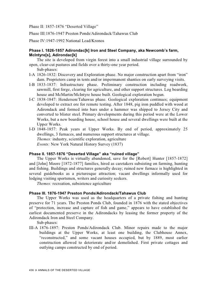 """Phase II: 1857-1876 """"Deserted Village"""" Phase III:1876-1947 Preston Ponds/Adirondack/Tahawus Club Phase IV:1947-1992 Nation..."""
