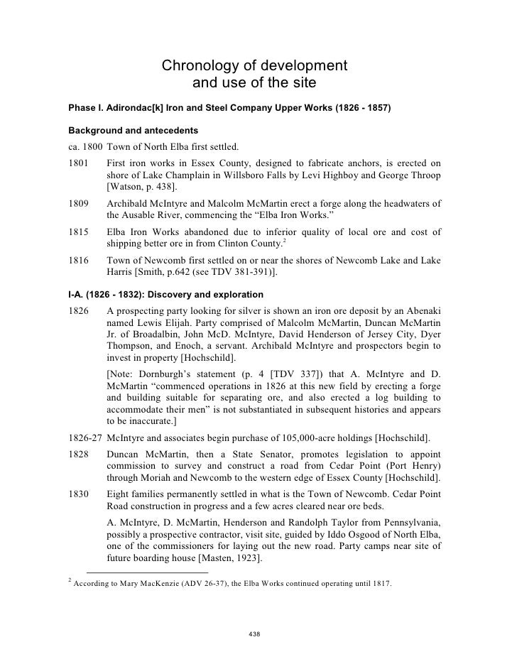 Chronology of development                                 and use of the site Phase I. Adirondac[k] Iron and Steel Company...