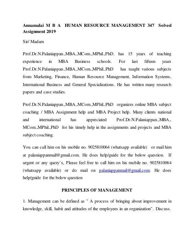 Human Resource Management Question Paper | Asdela