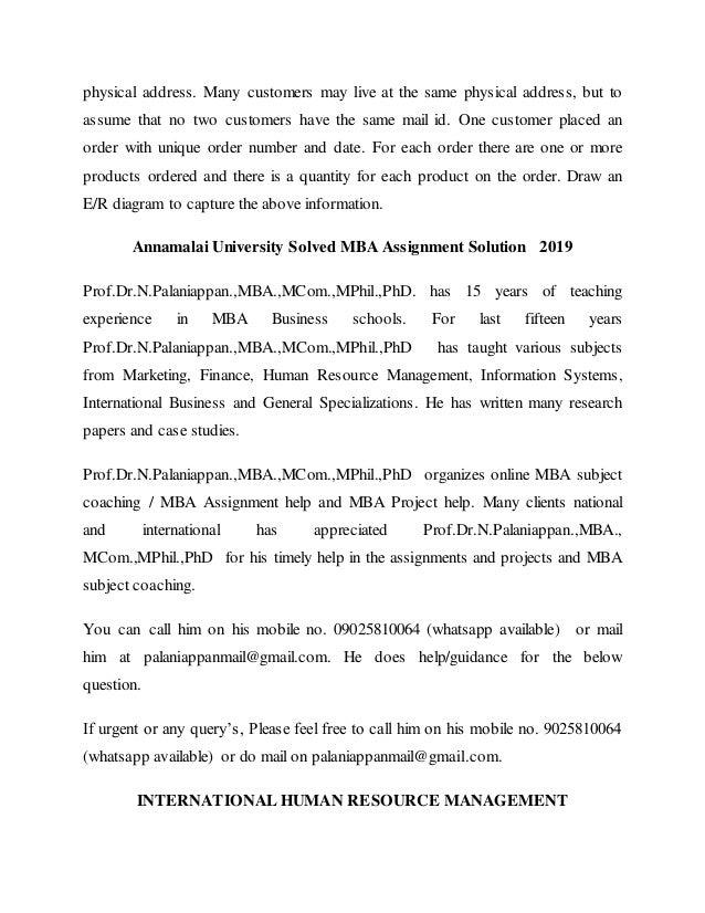 annamalai university mba assignments