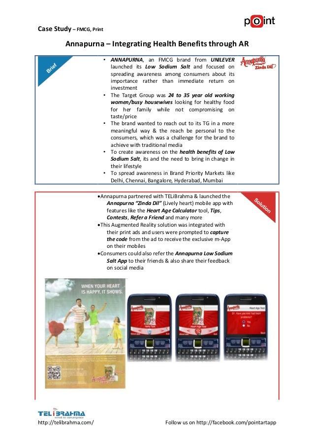 Case Study – FMCG, Print          Annapurna – Integrating Health Benefits through AR                           • ANNAPURNA...