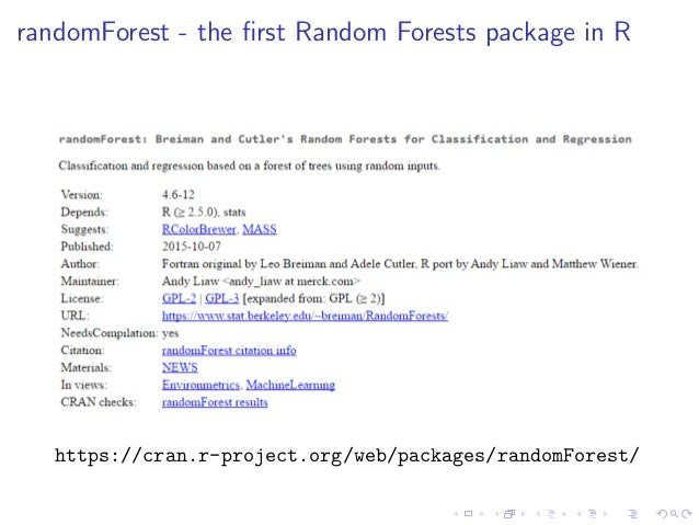 breiman and cutler s random forests for Bigrf this is an r implementation of leo breiman's and adele cutler's random forest algorithms for classification and regression, with optimizations for performance and for handling of data sets that are too large to be processed in memory.