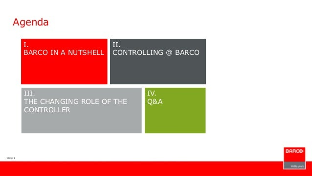 Slide 1AgendaI.BARCO IN A NUTSHELLIII.THE CHANGING ROLE OF THECONTROLLERIV.Q&AII.CONTROLLING @ BARCO