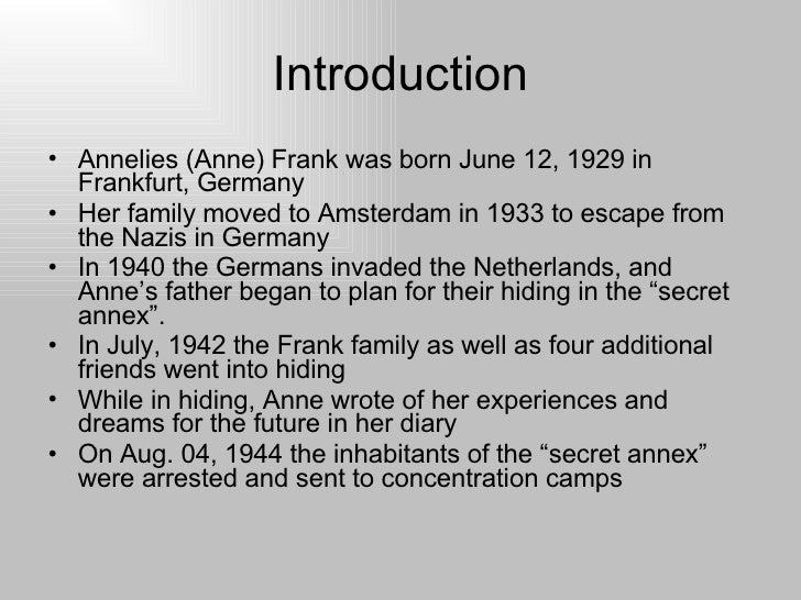 Anne frank research paper