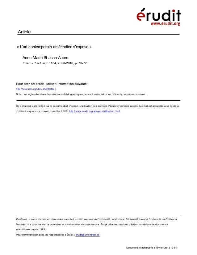 Article« L'art contemporain amérindien s'expose »     Anne-Marie St-Jean Aubre     Inter : art actuel, n° 104, 2009-2010, ...