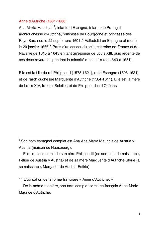 Anne d'Autriche (1601-1666) Ana María Mauricia1 2, infante d'Espagne, infante de Portugal, archiduchesse d'Autriche, princ...