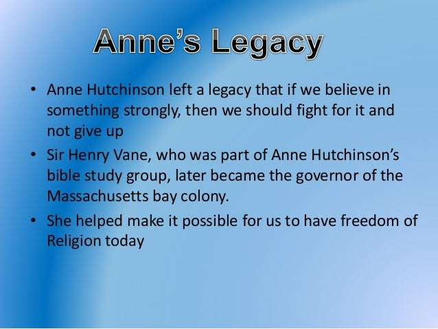 anne hutchinson biography Anne hutchinson (née marbury july 1591 – august 1643) was a puritan spiritual adviser, mother of 15, and an important participant in the antinomian controversy .