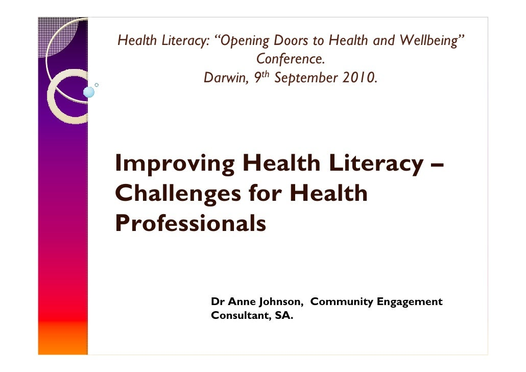 "Health Literacy: ""Opening Doors to Health and Wellbeing""                        Conference.                Darwin, 9th Sep..."