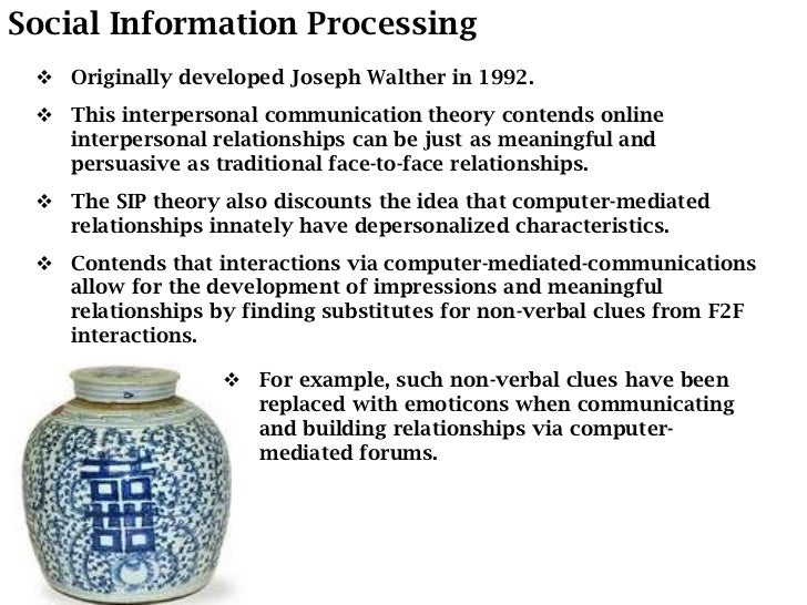 an evaluation of the social information processing theory by joseph walther A theory about building relationships online walther's social information processing theory 1 walther's social information processing theory jemaima rae c porter ab journalism.