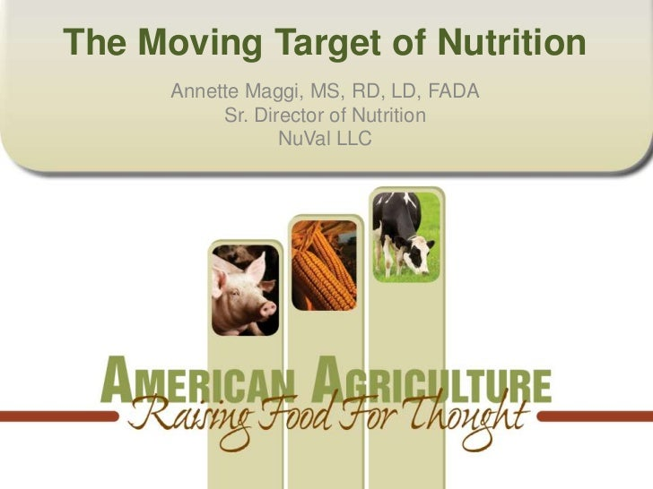 The Moving Target of Nutrition      Annette Maggi, MS, RD, LD, FADA           Sr. Director of Nutrition                  N...
