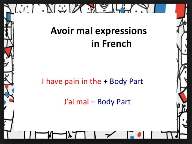 Avoir mal expressions  in French  I have pain in the + Body Part  J'ai mal + Body Part