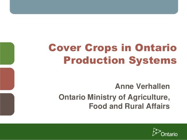 Cover Crops in Ontario Production Systems Anne Verhallen Ontario Ministry of Agriculture, Food and Rural Affairs